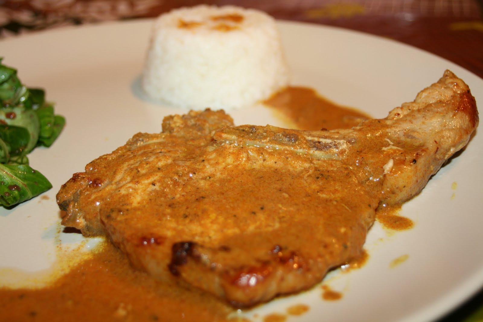 Les trouvailles de cacaille c tes de porc au curry et au - Cuisiner les cotes de porc ...