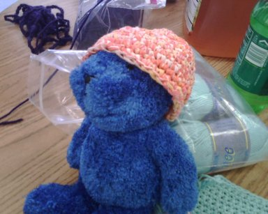 My friend, Mini~Lois, is doing a great job of crocheting in the round.  This is a hat she made for one of her dolls.