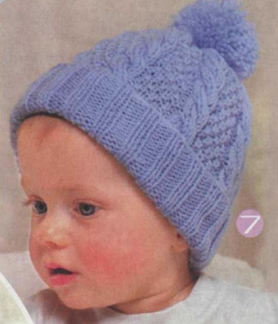 Детские вязаные спицами шапки с узором из кос