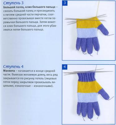 техника вязания перчаток