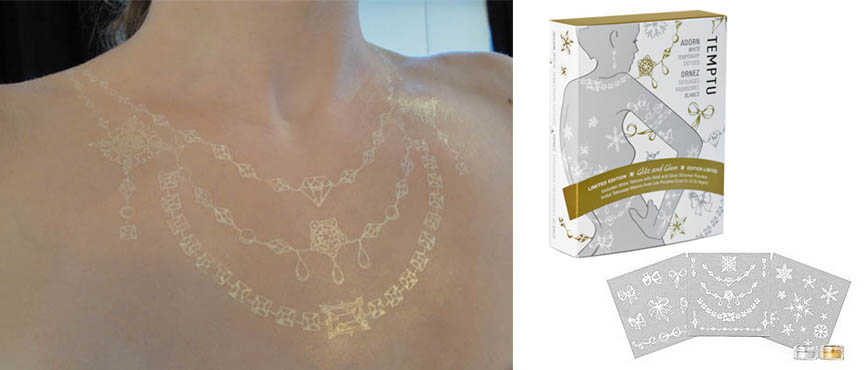 Try my new temporary white tattoos from the Temptu Holiday Adorn Kit