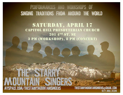 Starry Mountain Singers this Saturday!