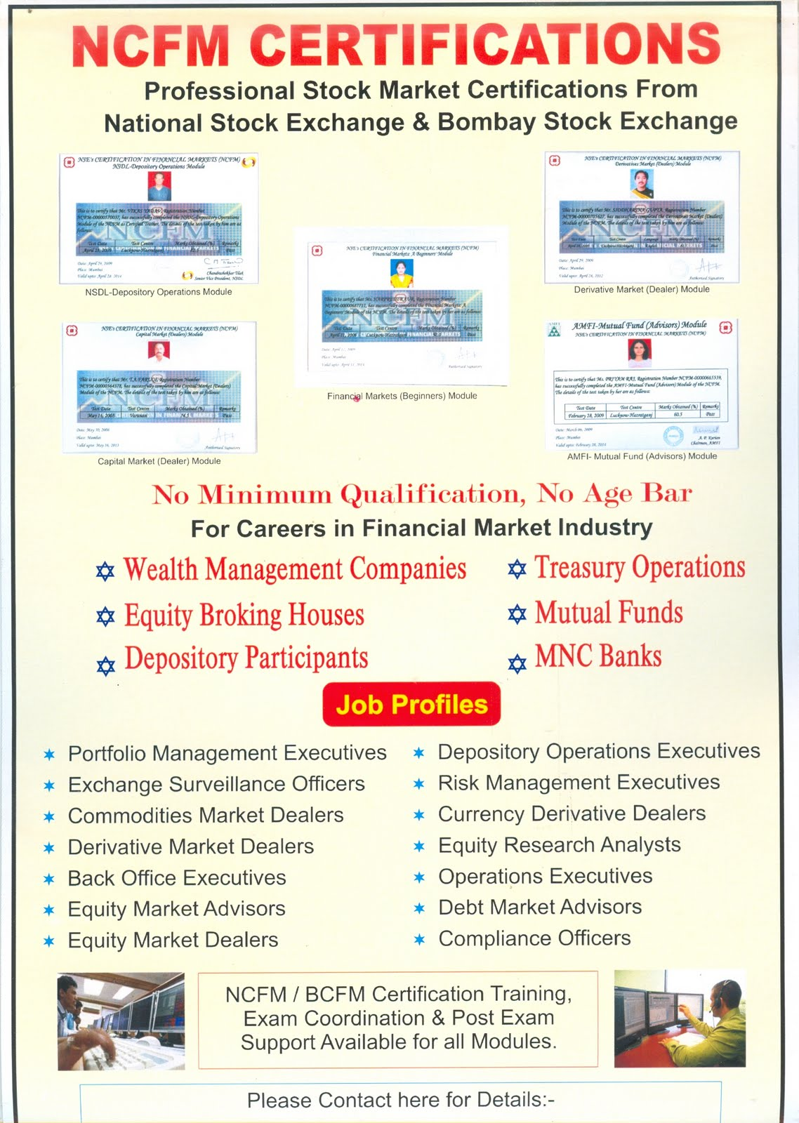 certifications from the bombay stock exchange