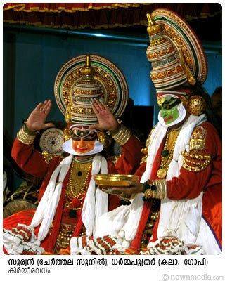 Suryan(Cherthala Sunil) and Dharmaputhrar(Kalamandalam Gopi) in KirmeeraVadham Kathakali.