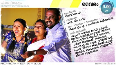 Vairam - A film by Nishad M.A. starring Suresh Gopi, Mukesh, Samvritha Sunil; Film Review by Haree for Chithravishesham.