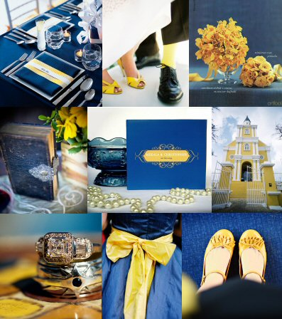 Blue Yellow Wedding Inspirations Color Gold