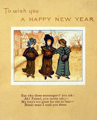 greetings message in victorian christmas cards to wish you a happy new year