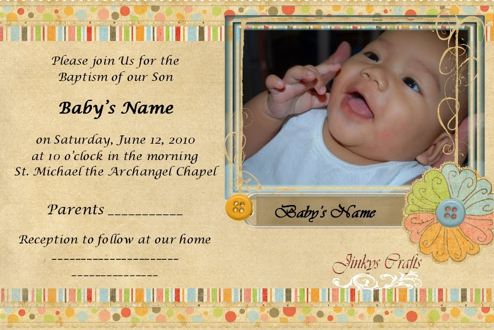 Jinkys crafts designs baptism invitation cards wednesday june 16 2010 stopboris Image collections