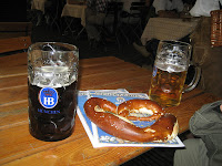 Lunch at Hofbräuhaus in Munich...beer and giant soft pretzels