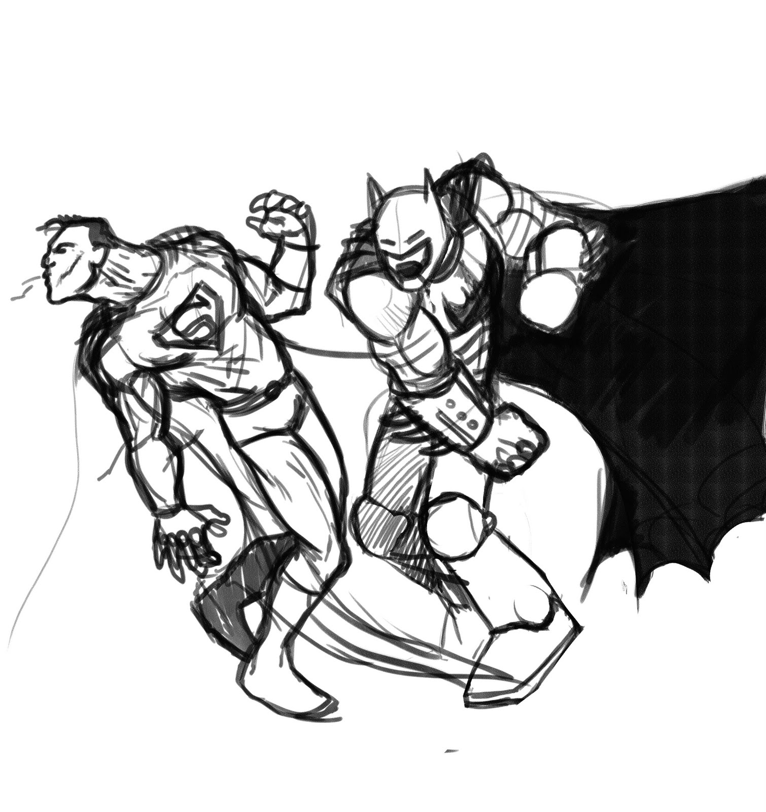 EL DIBUJANTE AFICIONADO: BATMAN VS SUPERMAN SKETCH