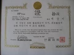 Dr. Paik's 10th Dan Certificate