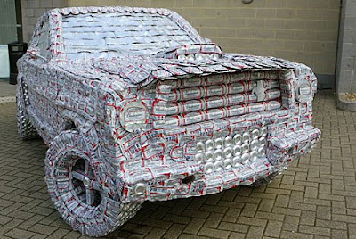 Mustang made from 5,000 beer cans (2) 2