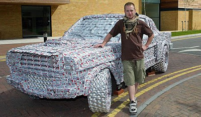 Mustang made from 5,000 beer cans (2) 1