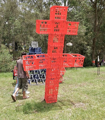 Sculpture using milk crates