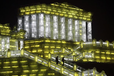 Ice sculpture of the Parthenon