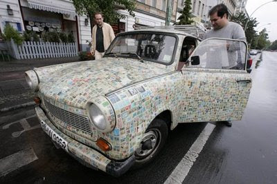 This car has enough stamps to be posted anywhere in the world 3