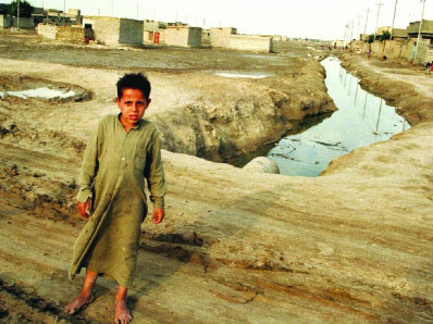open sewer in basra