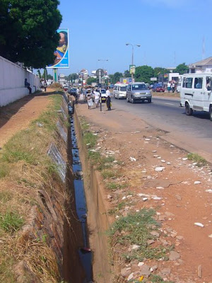 open sewer in  accra