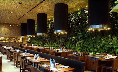 Restaurant Lined Wth A Living Green Wall
