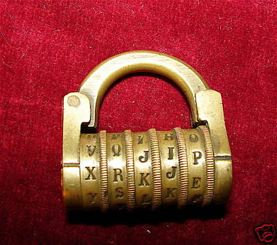Brass 5-Barrel Padlock Word Combination Lock