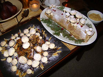 "The ""rotten log"" was served along with Liz's classic Christmas cake,"