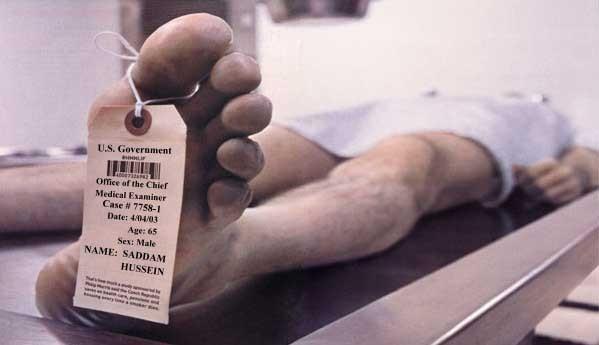 Inicio del proceso de descomposición tras la muerte Saddam_morgue