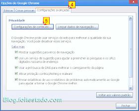 Opções de configurações avançadas no Chrome