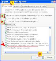 Efeitos visuais personalizar o windows