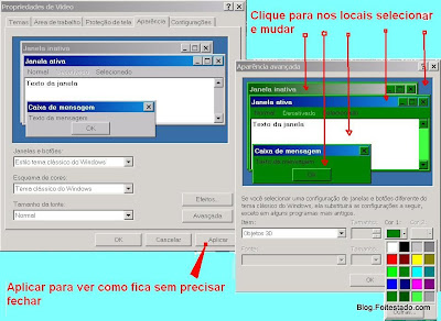 propriedades e aparencia do windows