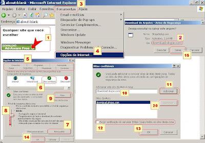 adicionar sites confiaveis nas configuracoes do windows para poder fazer downloads