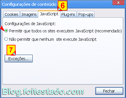 Permitir ou impedir javascript no google chrome