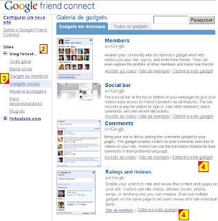 Obter gadget de comentario do google friend connect