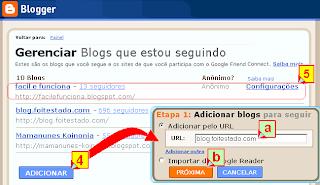 Adicionar blogs para seguir, configurar modo de seguir