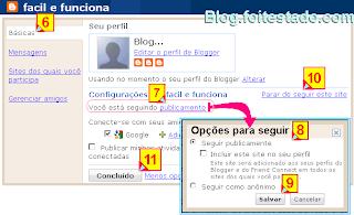 Forma como você quer seguir um blog, publica ou anônima-mente