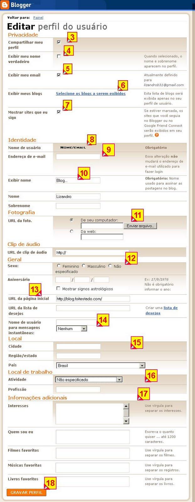 Como editar o seu perfil de usuario no blogger,(quem eu sou)