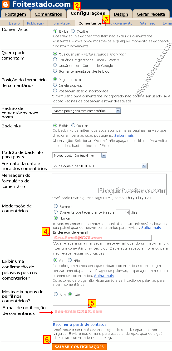 Inscrever email para ser notificado de comentário do blogger