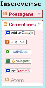 Gadget do blogger para inscrição em feed rss, cores vermelhas