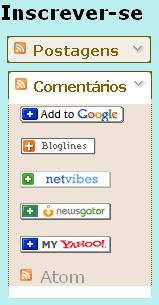 Gadget do blogger para inscrever em feed rss, cores marrom claro
