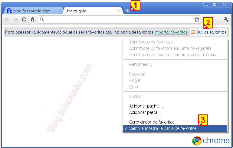 Como mostrar ou esconder barra de favoritos do google chrome