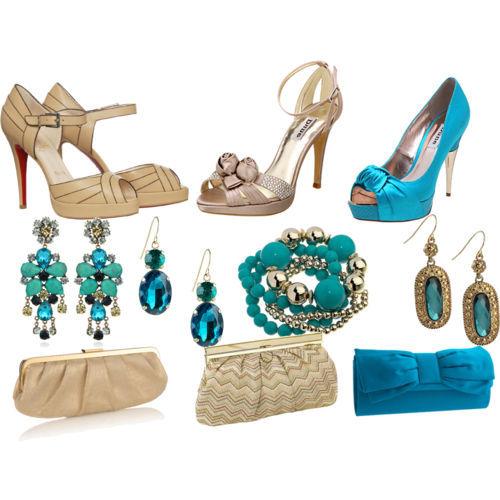 Acessorios com vestido azul tiffany