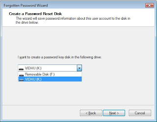 Select a Password Reset Disk