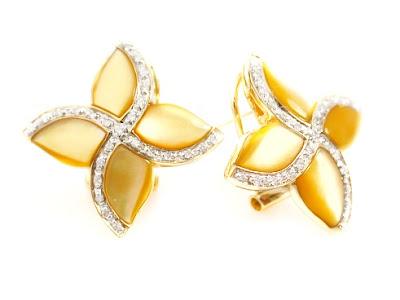 Mother of Pearl Diamond Earrings