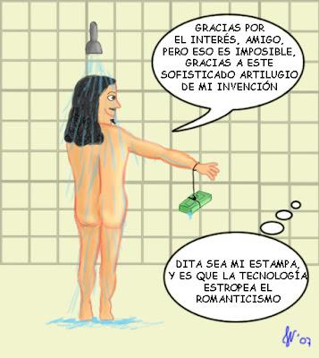 Adolescente visto en la ducha