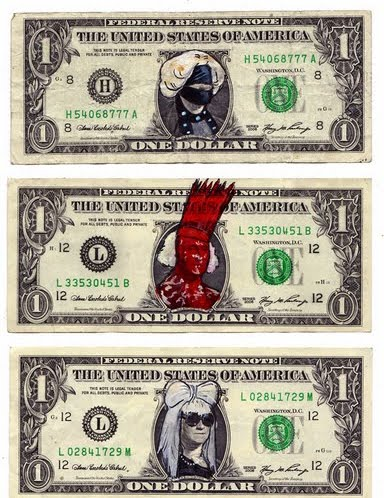 lady gaga dollar bill art. george washington dollar bill