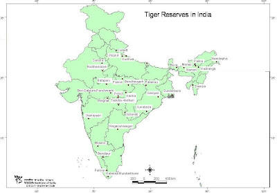 Tiger reserves in India - Map of India