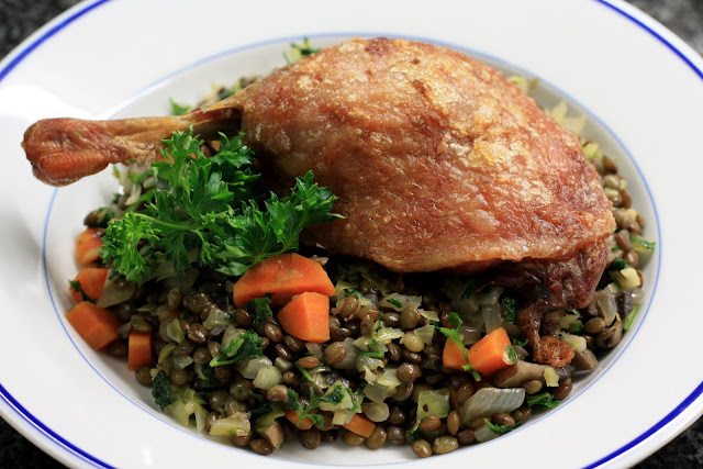 Fresh Local and Best: Easy Duck Confit with Lentil Salad Recipe