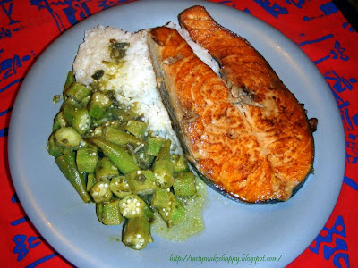 Tasty makes happy salmon with okra for Jamaican steam fish