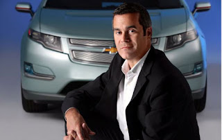 Chevy Volt pictured with Bob Boniface, director of the E-Flex Design Studio