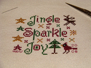 Jingle, Sparkle, Joy by Midsummer Night Designs - Stitched for an ornament exchange.