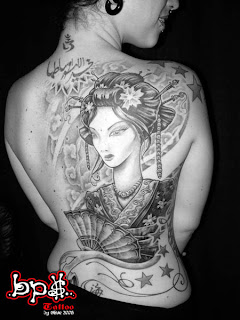 Women Back Piece Japanese Geisha Tattoo